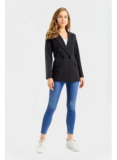 Jument Kadın Blazer Düğme Detaylı Uzun Kol Şık Ofis Süs Cep Kapaklı Ceket- Gül Kurusu Siyah